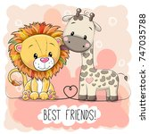 cute cartoon lion and giraffe... | Shutterstock .eps vector #747035788