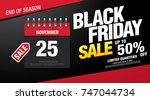 black friday sale banner layout ... | Shutterstock .eps vector #747044734