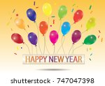 happy new year hanging on... | Shutterstock .eps vector #747047398