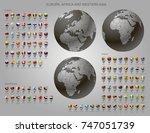globes with europe  africa and... | Shutterstock .eps vector #747051739