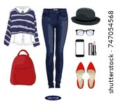 casual autumn outfit set for... | Shutterstock .eps vector #747054568