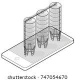 wire grain silo isometric... | Shutterstock .eps vector #747054670
