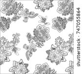 floral paisley pattern | Shutterstock .eps vector #747055864