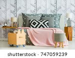 decorative pillow with... | Shutterstock . vector #747059239