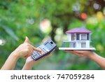 businesswoman using a...   Shutterstock . vector #747059284