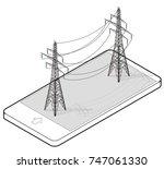 vector high voltage pylons in... | Shutterstock .eps vector #747061330