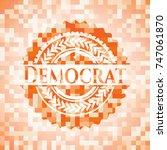 democrat orange mosaic emblem   Shutterstock .eps vector #747061870