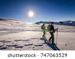 senior couple is snowshoe... | Shutterstock . vector #747063529