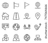 thin line icon set   globe ... | Shutterstock .eps vector #747064666