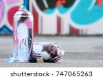 several used spray cans with...   Shutterstock . vector #747065263