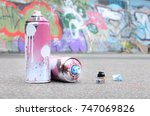 several used spray cans with... | Shutterstock . vector #747069826