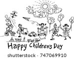 happy children's day  sketch | Shutterstock .eps vector #747069910