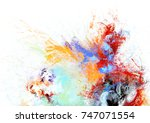 bright artistic splashes on... | Shutterstock . vector #747071554