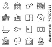 thin line icon set   pointer ... | Shutterstock .eps vector #747072118