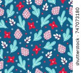 christmas seamless pattern with ... | Shutterstock .eps vector #747073180