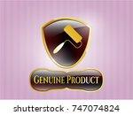 golden badge with roller brush ... | Shutterstock .eps vector #747074824
