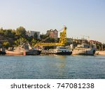 military navy ships in a sea... | Shutterstock . vector #747081238