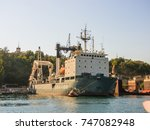 military navy ships in a sea... | Shutterstock . vector #747082948
