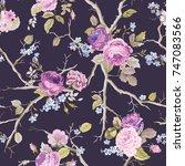 violet roses flowers texture... | Shutterstock .eps vector #747083566