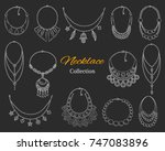 fashionable necklaces... | Shutterstock .eps vector #747083896