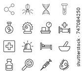 thin line icon set   molecule ...   Shutterstock .eps vector #747084250