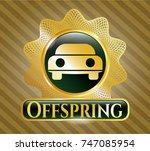 golden emblem with car seen... | Shutterstock .eps vector #747085954
