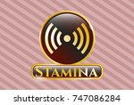 golden badge with signal icon... | Shutterstock .eps vector #747086284