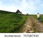 woman tourist with backpack... | Shutterstock . vector #747087433