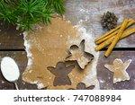 christmas gingerbread cut out...   Shutterstock . vector #747088984
