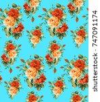 watercolor flower pattern   Shutterstock . vector #747091174