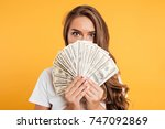 close up portrait of a young... | Shutterstock . vector #747092869