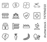 thin line icon set   calendar ... | Shutterstock .eps vector #747096010