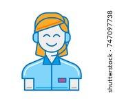 happy female customer support...   Shutterstock .eps vector #747097738