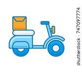 blue delivery motor bike...   Shutterstock .eps vector #747097774