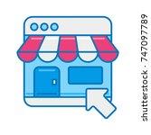 online shopping flat vector... | Shutterstock .eps vector #747097789