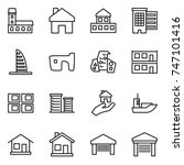 thin line icon set   mansion ...   Shutterstock .eps vector #747101416