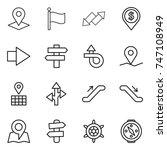 thin line icon set   pointer ... | Shutterstock .eps vector #747108949