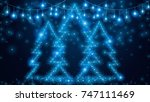 glitch of christmas tree | Shutterstock .eps vector #747111469