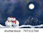 snowman standing outdoor snow ... | Shutterstock . vector #747111760