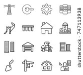 thin line icon set   lighthouse ... | Shutterstock .eps vector #747113938