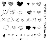 heart doodles  collection of... | Shutterstock .eps vector #747118906