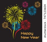 happy new year text with... | Shutterstock .eps vector #747123604