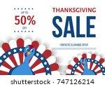 thanksgiving day sale banner.... | Shutterstock .eps vector #747126214