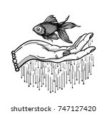 traditional tattoo flash hand... | Shutterstock .eps vector #747127420