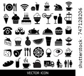 set of black food icons. vector ... | Shutterstock .eps vector #747128206