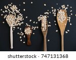 oat stems and oat flakes in a...   Shutterstock . vector #747131368