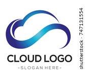 blue cloud logo vector   | Shutterstock .eps vector #747131554