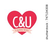 c and u letter inside heart for ... | Shutterstock .eps vector #747134308