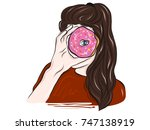brunette woman with pink donut. ... | Shutterstock .eps vector #747138919