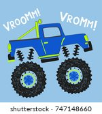cartoon monster truck... | Shutterstock .eps vector #747148660